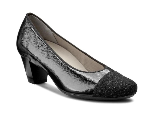Ara - Classic Black Leather Medium Heel Pumps