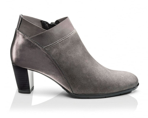 Leather Heeled Pewter Ankle Boots