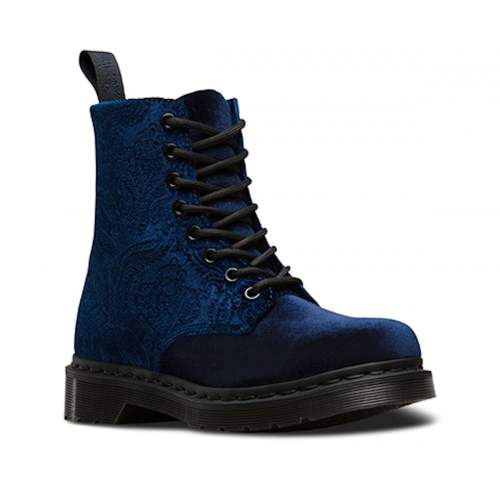 Dr Martens - Velvet Leather Ankle Boot in Navy Velvet
