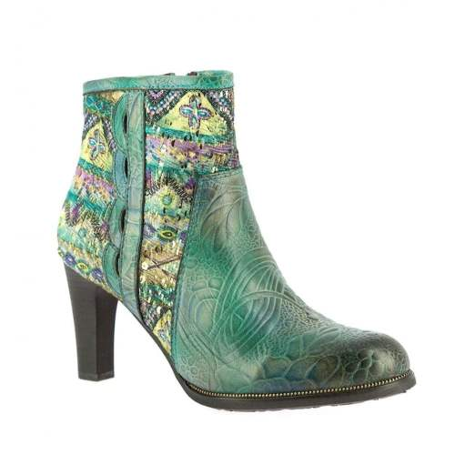 Laura Vita - Albane 10 Turquoise Leather Ankle Boots