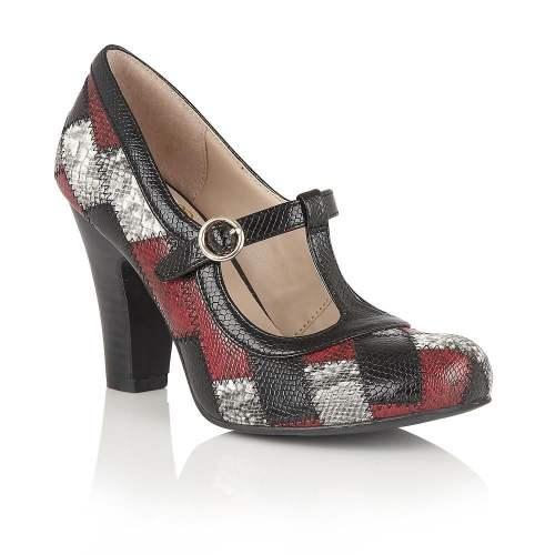 Lotus - Phyllis Black/Multi Snake Print T-Bar Heels