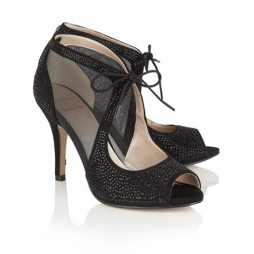 Lotus - Vanille Black Diamante Heels