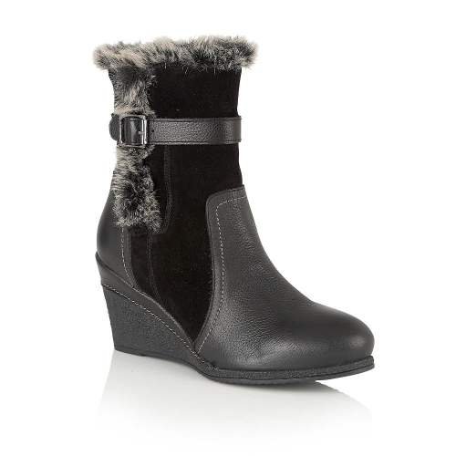 Lotus - Varda Leather Black Mid-Calf Wedge Boots