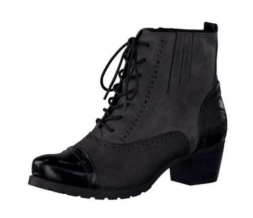 Marco Tozzi - Black Grey Lace Up Ankle Boots