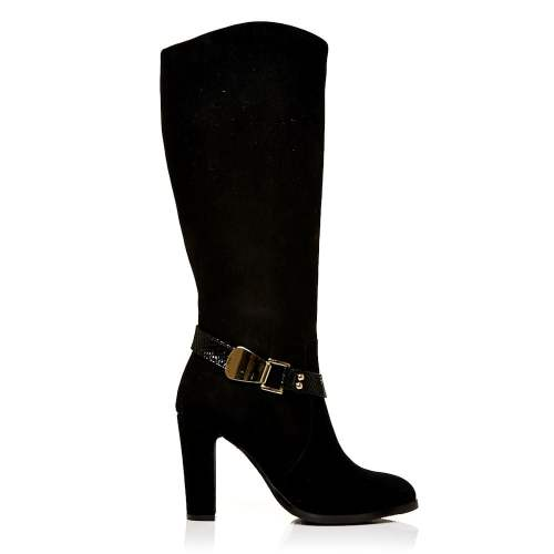 Moda in Pelle - Viano Long Black Suede Boots