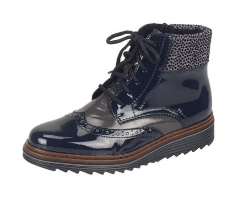 Rieker - Lace Up Navy Patent Boots