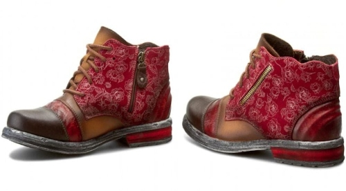 Maciejka - Amber Red Leather Ankle Boots